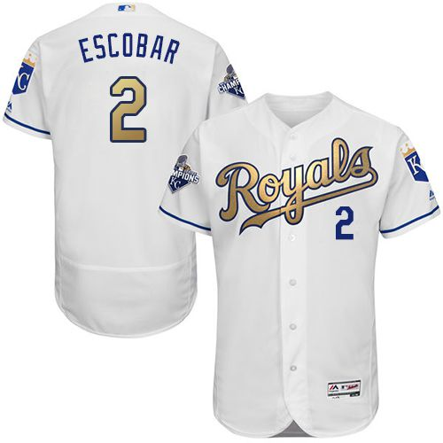 Royals #2 Alcides Escobar White 2015 World Series Champions Gold Program FlexBase Authentic Stitched MLB Jersey