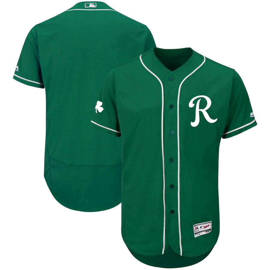 Kansas City Royals Majestic St. Patrick's Day Flex Base Authentic Collection Celtic Team Jersey Green