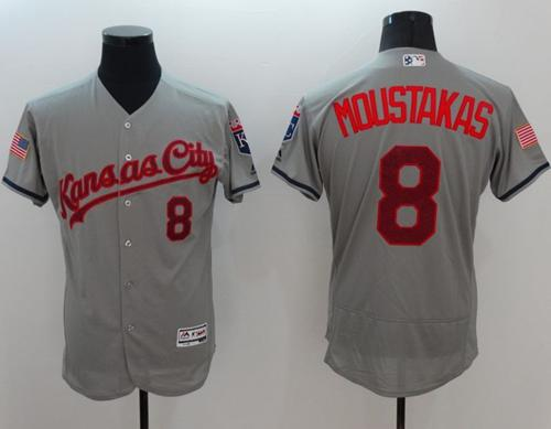 Royals #8 Mike Moustakas Grey Fashion Stars & Stripes Flexbase Authentic Stitched MLB Jersey