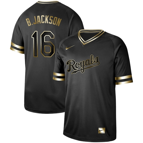 Nike Royals #16 Bo Jackson Black Gold Authentic Stitched MLB Jersey