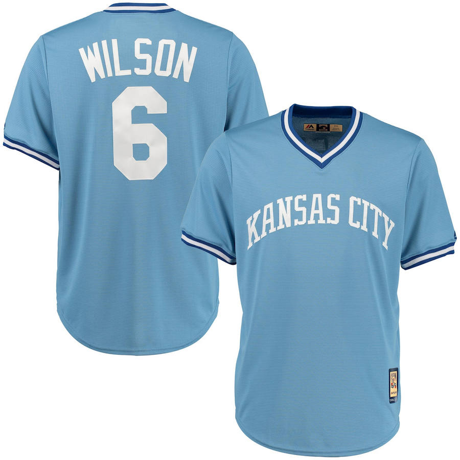 Kansas City Royals #6 Willie Wilson Majestic Cool Base Cooperstown Collection Player Jersey Blue