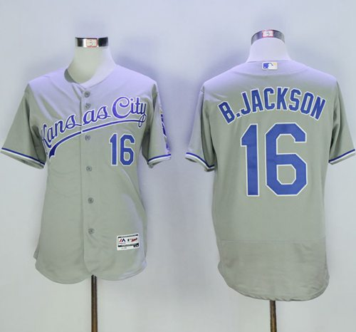 Royals #16 Bo Jackson Grey Flexbase Authentic Collection Stitched MLB Jersey