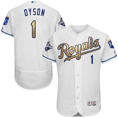 Royals #1 Jarrod Dyson White 2015 World Series Champions Gold Program FlexBase Authentic Stitched MLB Jersey