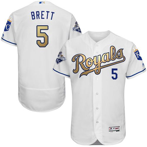 Royals #5 George Brett White 2015 World Series Champions Gold Program FlexBase Authentic Stitched MLB Jersey