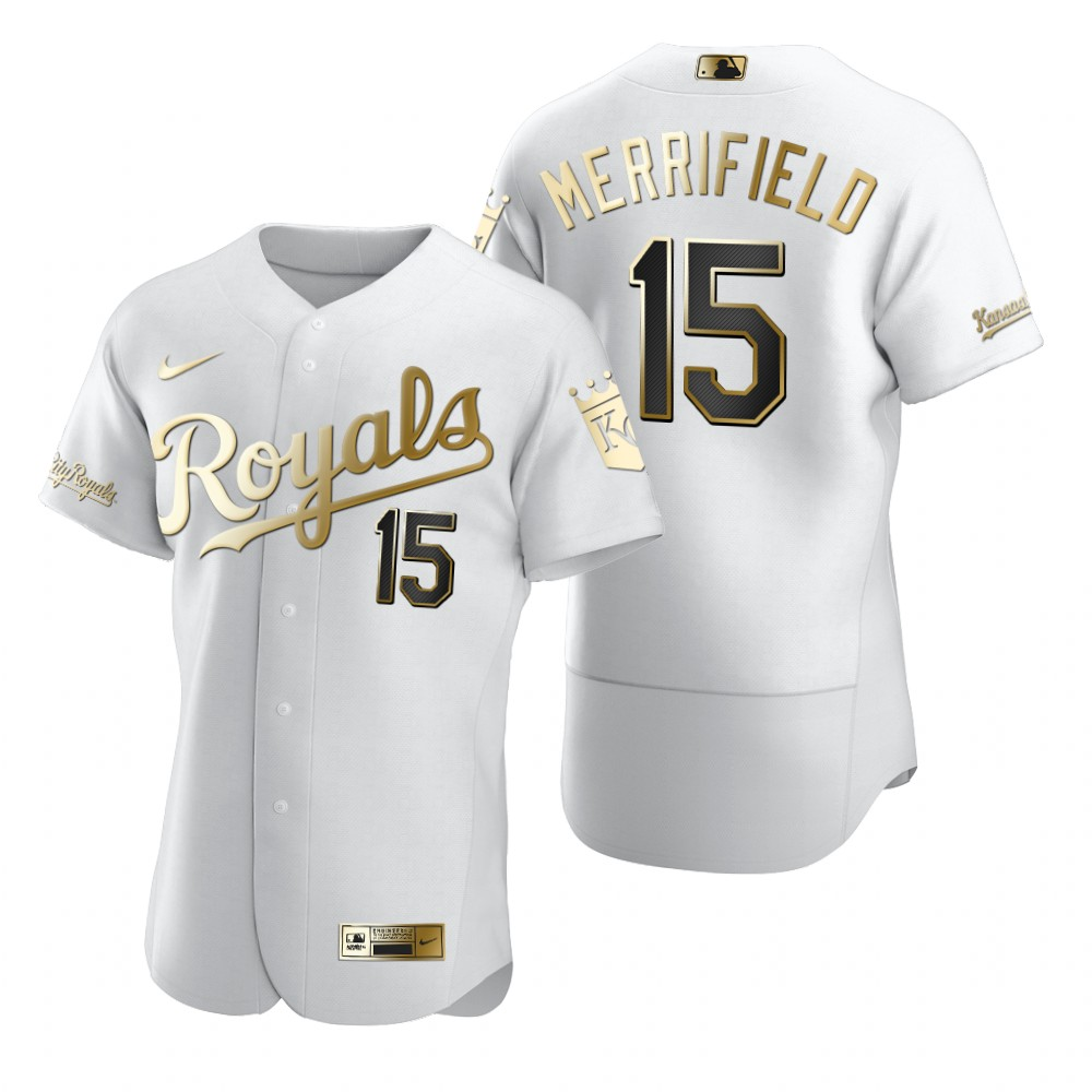Kansas City Royals #15 Whit Merrifield White Nike Men's Authentic Golden Edition MLB Jersey