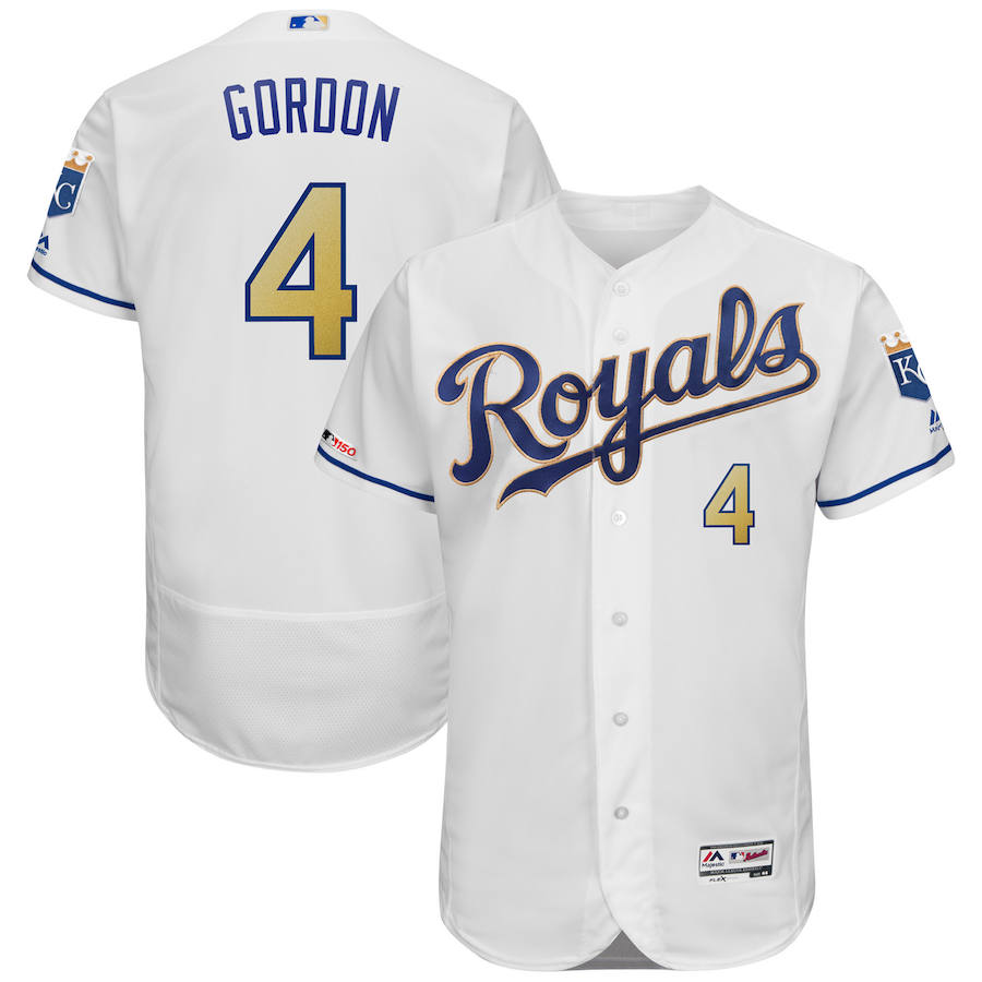 Kansas City Royals #4 Alex Gordon Majestic Alternate Authentic Collection Flex Base Player Jersey White