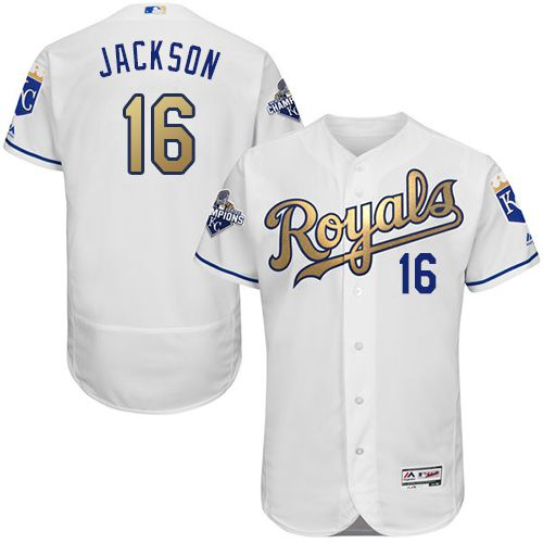 Royals #16 Bo Jackson White 2015 World Series Champions Gold Program FlexBase Authentic Stitched MLB Jersey
