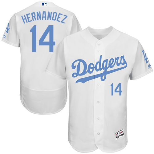 Dodgers #14 Enrique Hernandez White Flexbase Authentic Collection Father's Day Stitched MLB Jersey