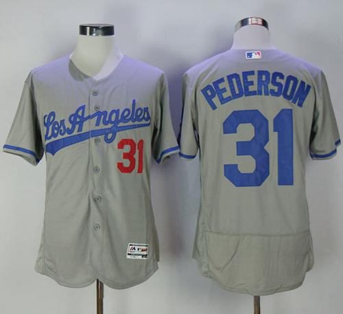 Dodgers #31 Joc Pederson Grey Flexbase Authentic Collection Road Stitched MLB Jersey