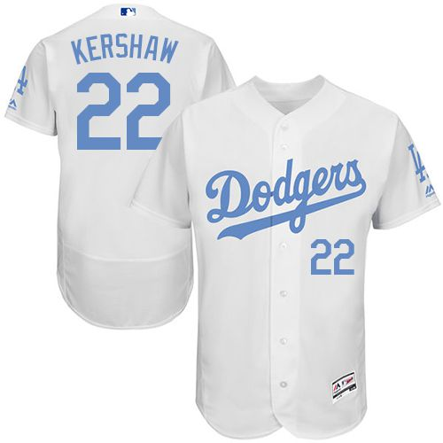 Dodgers #22 Clayton Kershaw White Flexbase Authentic Collection Father's Day Stitched MLB Jersey