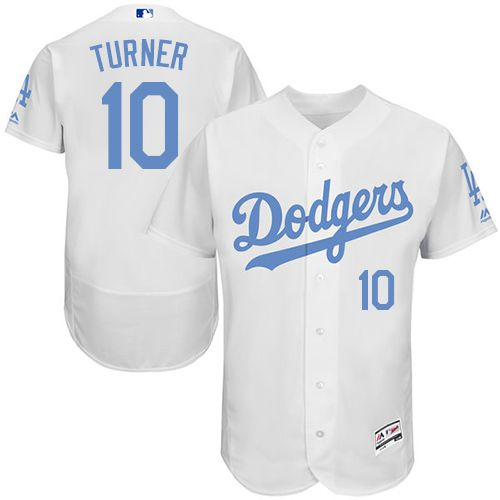 Dodgers #10 Justin Turner White Flexbase Authentic Collection Father's Day Stitched MLB Jersey
