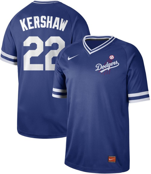 Nike Dodgers #22 Clayton Kershaw Royal Authentic Cooperstown Collection Stitched MLB Jersey