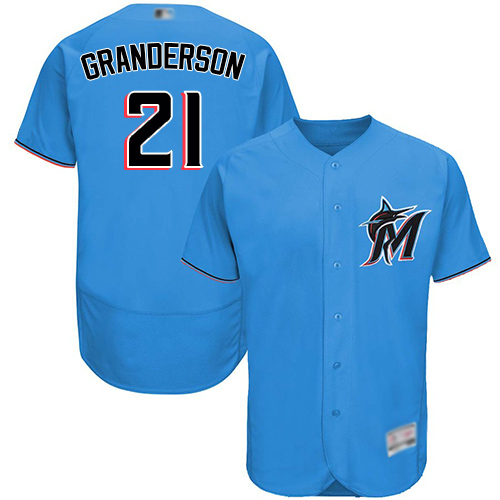 marlins #21 Curtis Granderson Blue Flexbase Authentic Collection Stitched MLB Jersey