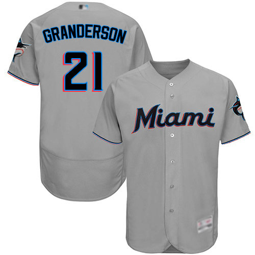 marlins #21 Curtis Granderson Grey Flexbase Authentic Collection Stitched MLB Jersey