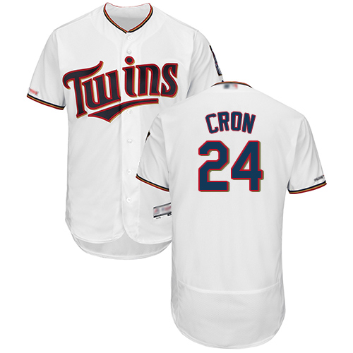 Twins #24 C.J. Cron White Flexbase Authentic Collection Stitched MLB Jersey