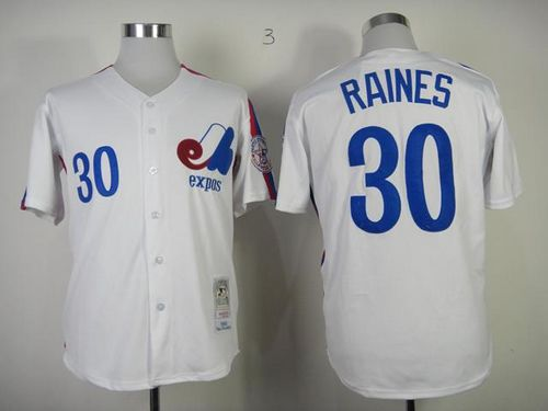 Mitchell And Ness Expos #30 Tim Raines White Throwback Stitched MLB Jersey