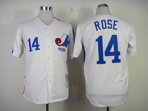 Mitchell And Ness Expos #14 Pete Rose White Throwback Stitched MLB Jersey