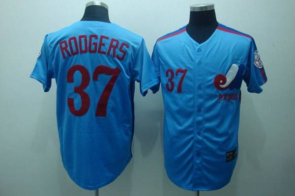 Mitchell and Ness Expos #37 Steve Rodgers Blue Stitched Throwback MLB Jersey