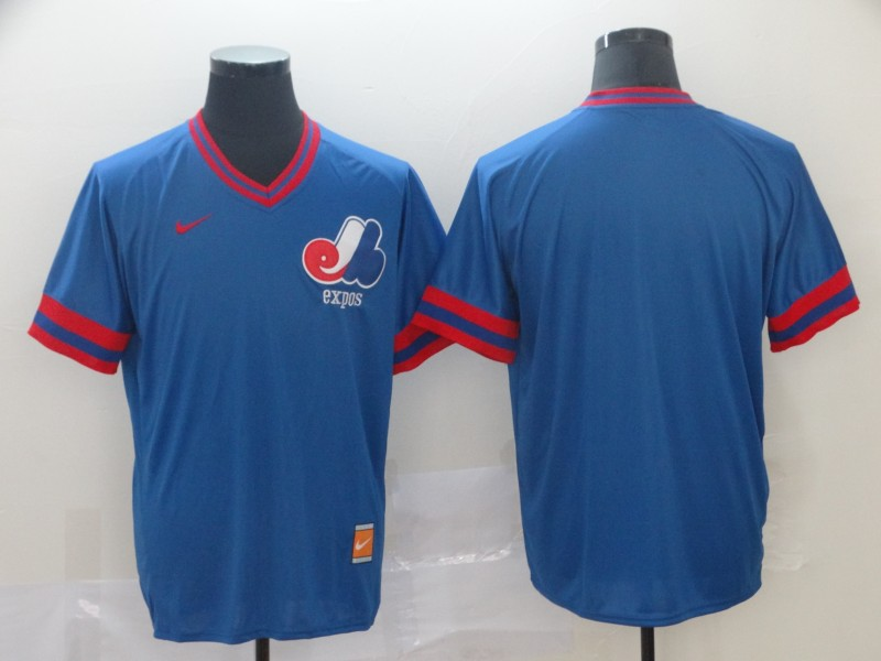 Montreal Expos Blank Blue Nike Retro Authentic Stitched MLB Jersey