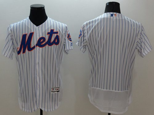 Mets Blank White(Blue Strip) Flexbase Authentic Collection Stitched MLB Jersey