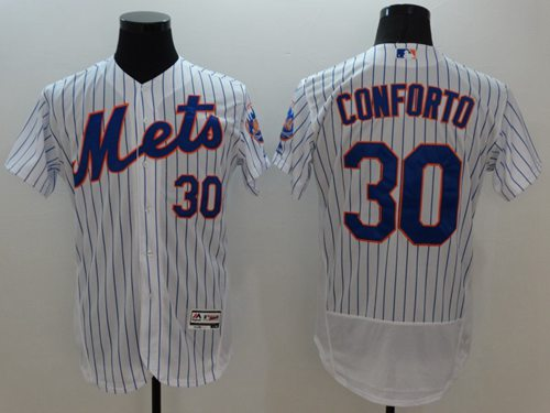 Mets #30 Michael Conforto White(Blue Strip) Flexbase Authentic Collection Stitched MLB Jersey