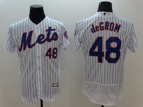 Mets #48 Jacob DeGrom White(Blue Strip) Flexbase Authentic Collection Stitched MLB Jersey