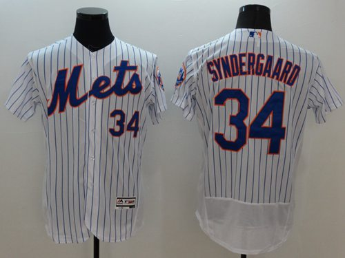 Mets #34 Noah Syndergaard White(Blue Strip) Flexbase Authentic Collection Stitched MLB Jersey