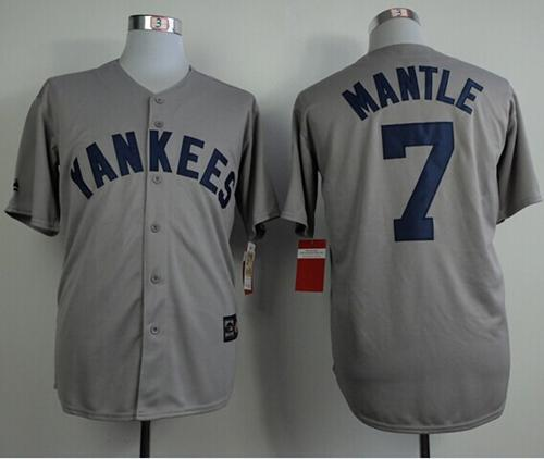Mitchell And Ness 75TH Yankees #7 Mickey Mantle Grey Throwback Stitched MLB Jersey