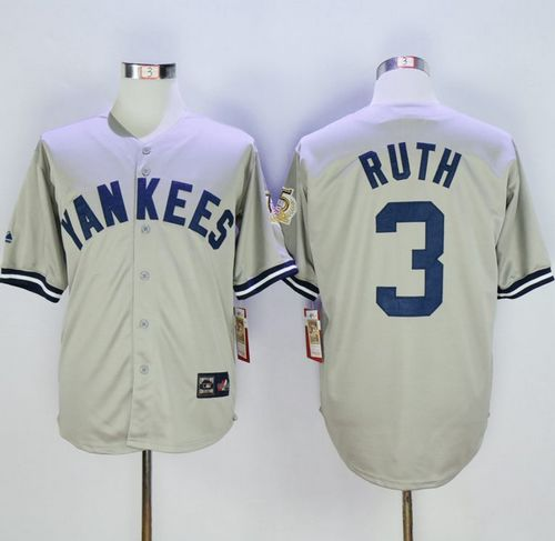 Mitchell And Ness 75TH Yankees #3 Babe Ruth Grey Throwback Stitched MLB Jersey