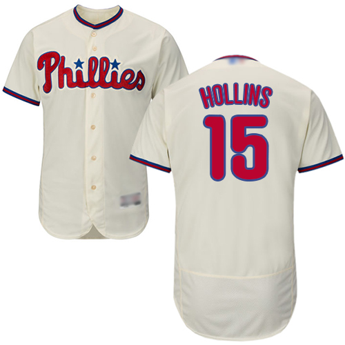 Phillies #15 Dave Hollins Cream Flexbase Authentic Collection Stitched MLB Jersey