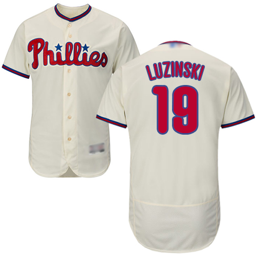 Phillies #19 Greg Luzinski Cream Flexbase Authentic Collection Stitched MLB Jersey