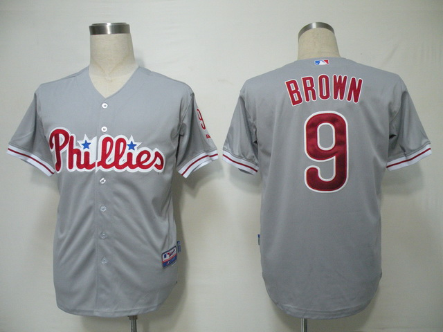 Phillies #9 Domonic Brown Grey Cool Base Stitched MLB Jersey