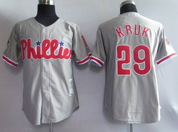 Mitchell and Ness Phillies #29 John Kruk Grey Stitched Throwback MLB Jersey