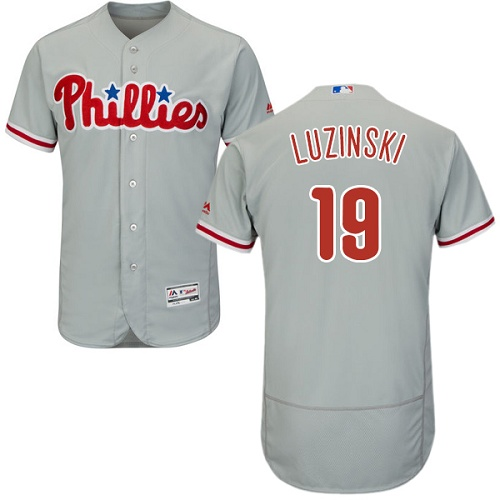 Phillies #19 Greg Luzinski Grey Flexbase Authentic Collection Stitched MLB Jersey