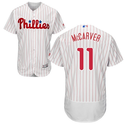 Phillies #11 Tim McCarver White(Red Strip) Flexbase Authentic Collection Stitched MLB Jersey