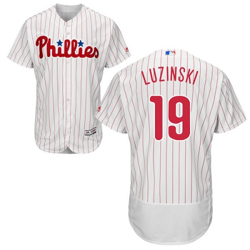 Phillies #19 Greg Luzinski White(Red Strip) Flexbase Authentic Collection Stitched MLB Jersey