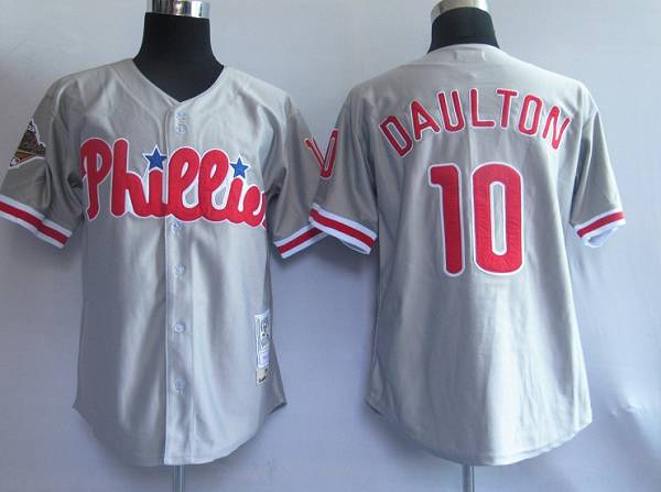 Mitchell and Ness Phillies #10 Royal Daulton Grey Stitched Throwback MLB Jersey