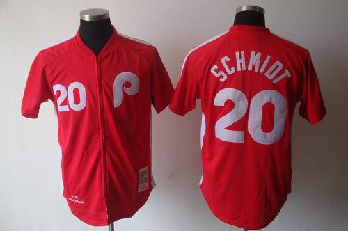 Mitchell And Ness Phillies #20 Mike Schmidt Red Stitched MLB Jersey