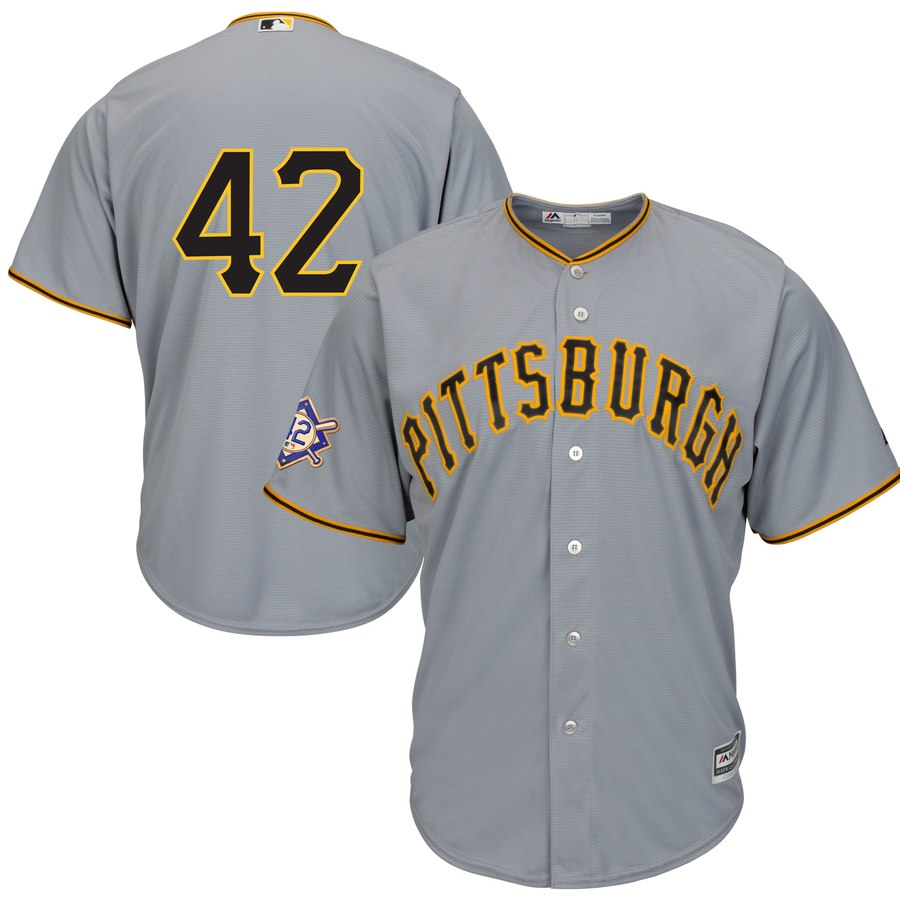 Pittsburgh Pirates #42 Majestic 2019 Jackie Robinson Day Official Cool Base Jersey Gray