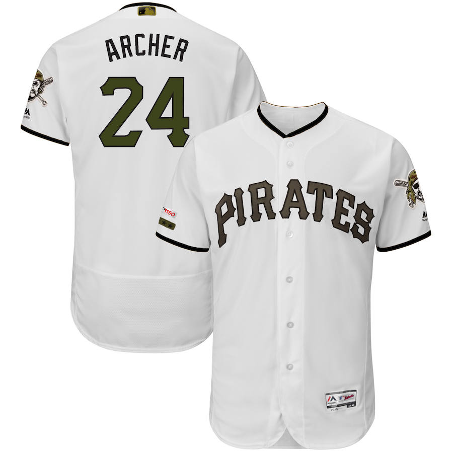 Pittsburgh Pirates #24 Chris Archer Majestic Alternate Authentic Collection Flex Base Player Jersey White