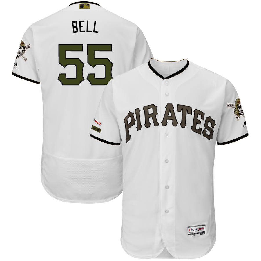 Pittsburgh Pirates #55 Josh Bell Majestic Alternate Authentic Collection Flex Base Player Jersey White