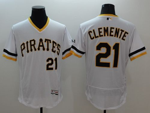 Pirates #21 Roberto Clemente White Flexbase Authentic Collection Cooperstown Stitched MLB Jersey