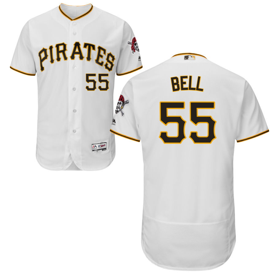 Pittsburgh Pirates #55 Josh Bell Majestic Home Flex Base Authentic Collection Jersey White