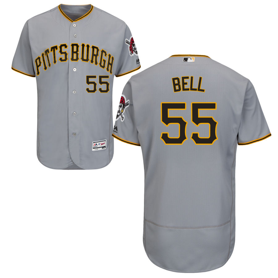 Pittsburgh Pirates #55 Josh Bell Majestic Road Flex Base Authentic Collection Jersey Gray