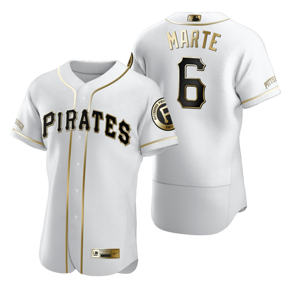 Pittsburgh Pirates #6 Starling Marte White Nike Men's Authentic Golden Edition MLB Jersey