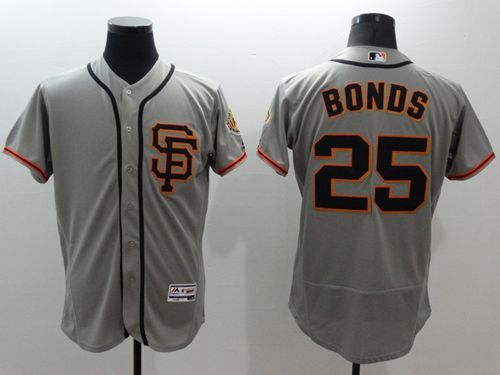 Giants #25 Barry Bonds Grey Flexbase Authentic Collection Road 2 Stitched MLB Jersey