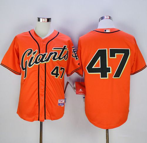 Giants #47 Johnny Cueto Orange Alternate Cool Base Stitched MLB Jersey