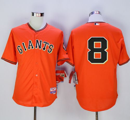 "Giants #8 Hunter Pence Orange Old Style ""Giants"" Stitched MLB Jersey"