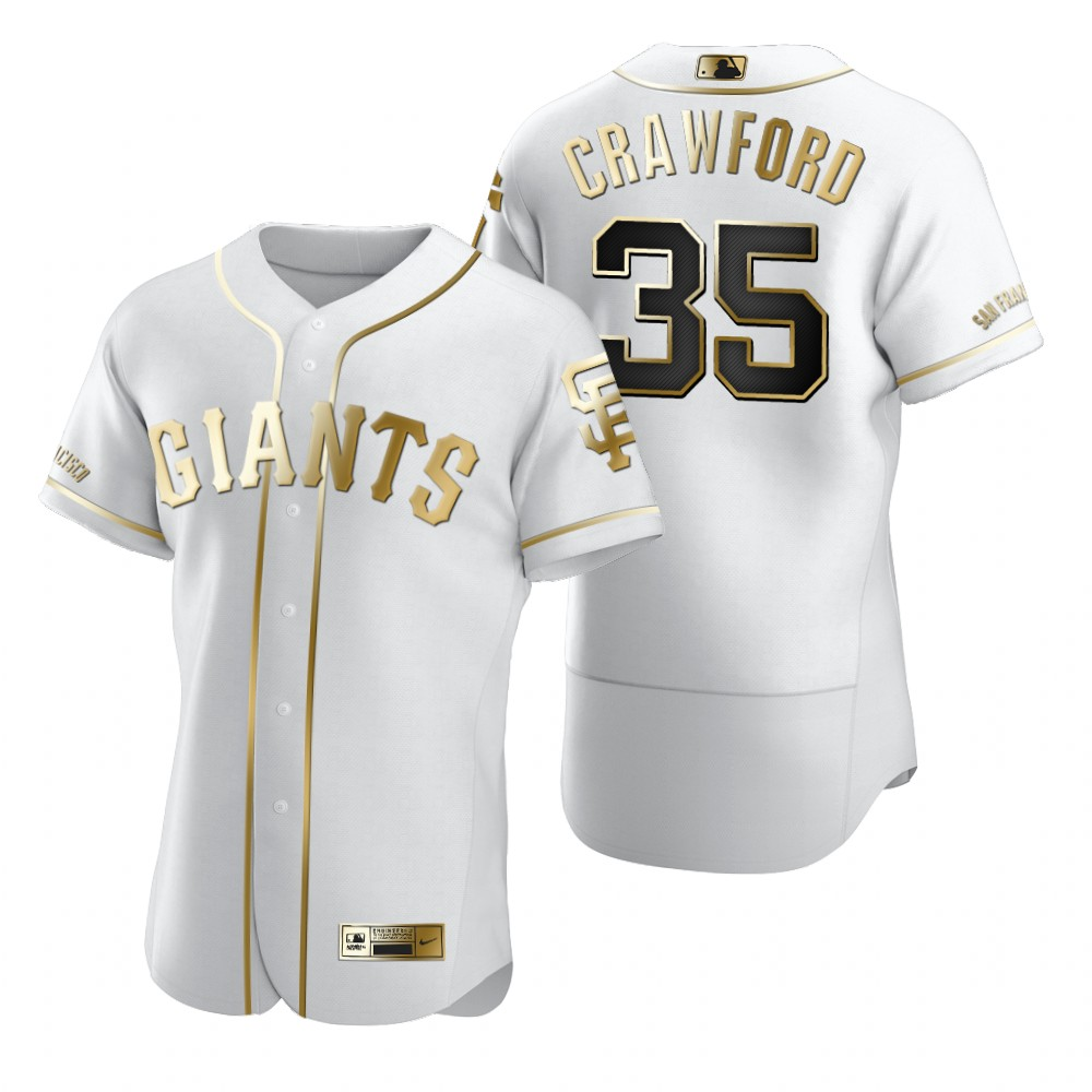 San Francisco Giants #35 Brandon Crawford White Nike Men's Authentic Golden Edition MLB Jersey