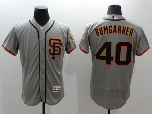 Giants #40 Madison Bumgarner Grey Flexbase Authentic Collection Road 2 Stitched MLB Jersey